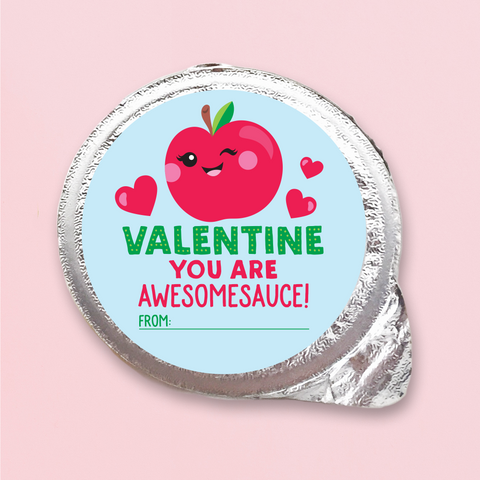 Printable Applesauce Valentine Cards for Kids