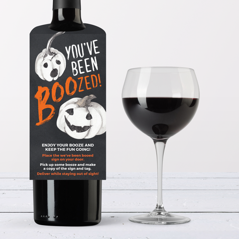You've Been Boozed wine bottle tag for Halloween