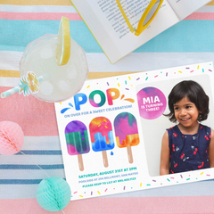 popsicle birthday invitation with photograph