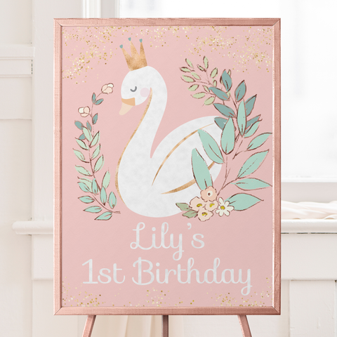 swan first birthday welcome sign