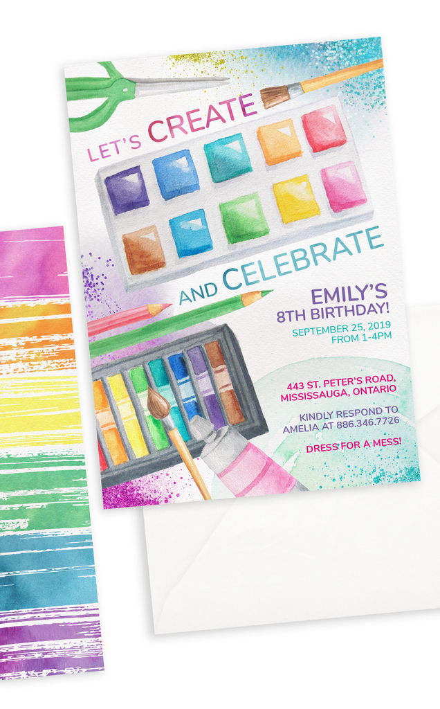 Art Party Painting and Craft Birthday Invitation