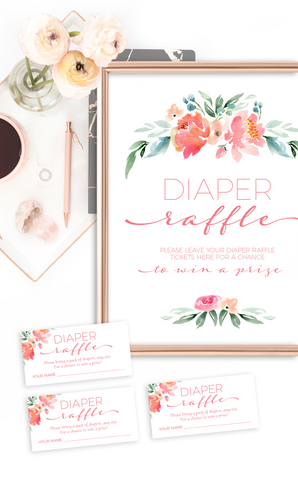 Floral Baby Shower Diaper Raffle Tickets and Sign