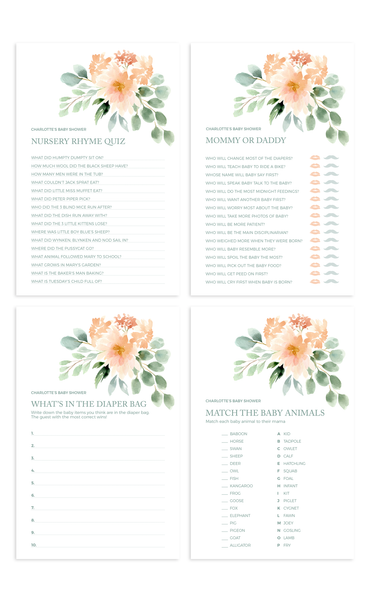 Set of 12 Printable Floral Baby Shower Games