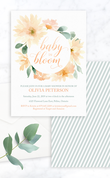 Baby in Bloom Printable Baby Shower Invitation