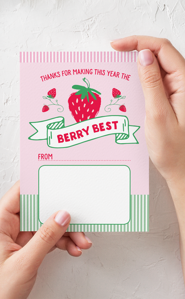 Berry Sweet Teacher Thank You Gift Card Holder and Gift Tags