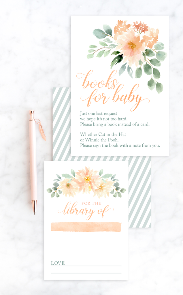 Peach Floral Books for Baby Invitation Insert Cards
