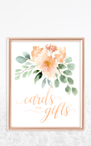 Peach Floral Cards and Gifts Sign