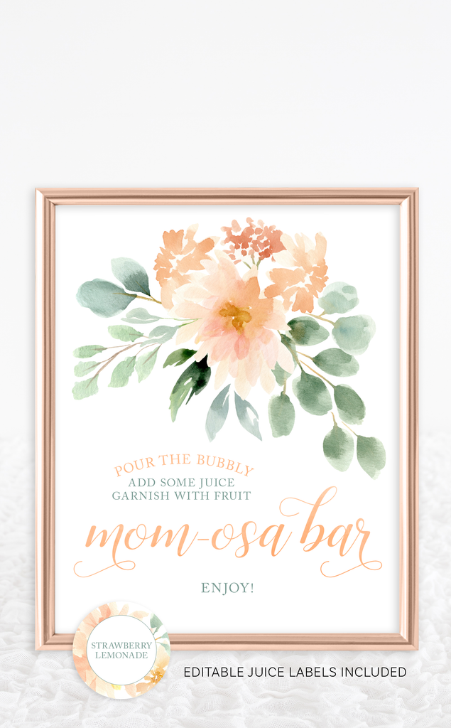 Peach Floral Baby Shower Mom-osa Bar Sign