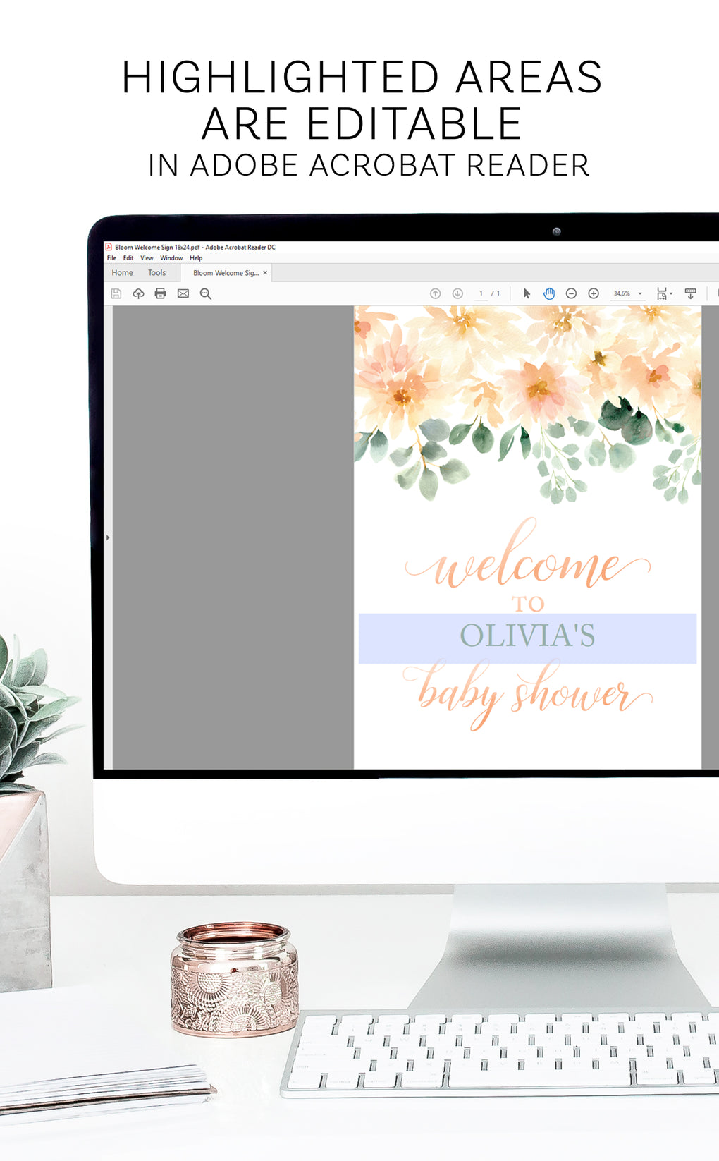 Peach Floral Printable Baby Shower Welcome Sign