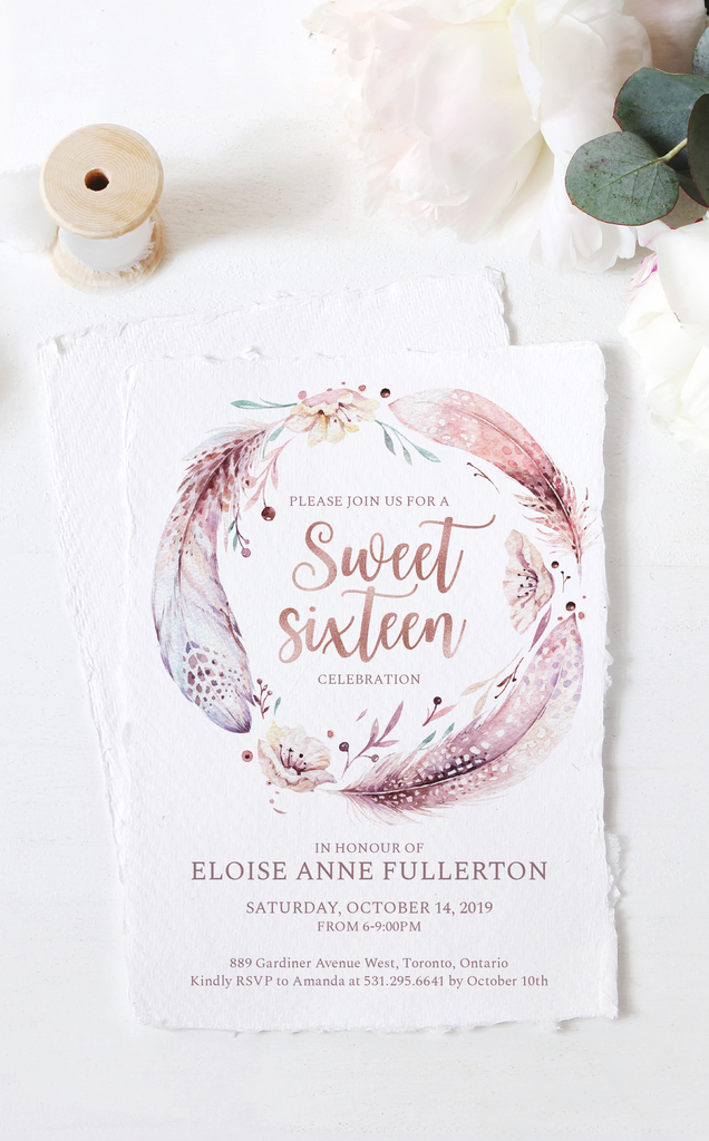 Boho Sweet Sixteen Birthday Invitation