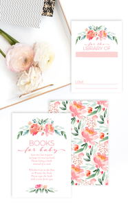 Floral Books for Baby Shower Invitation Insert