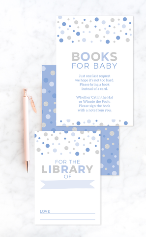 Blue Baby Shower Books for Baby Insert Card