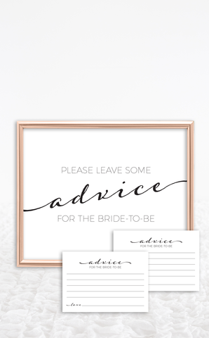 Printable Bridal Shower Advice Cards and Sign