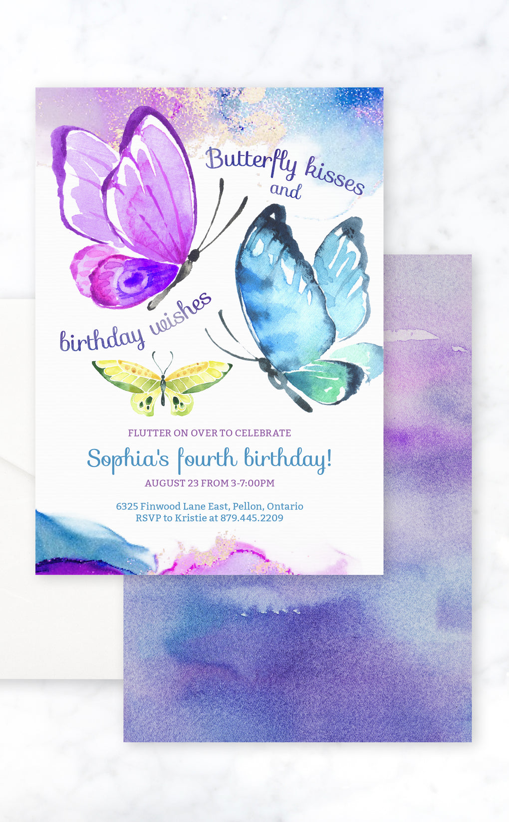 Kids birthday party invitation wit purple, blue and yellow butterflies