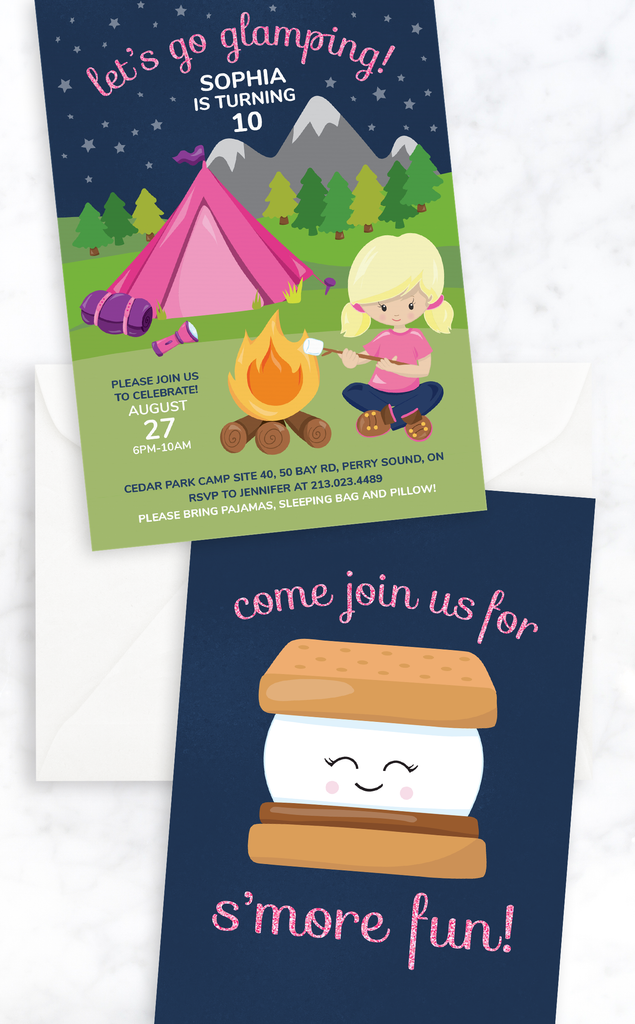 Glamping Birthday Party Invitation