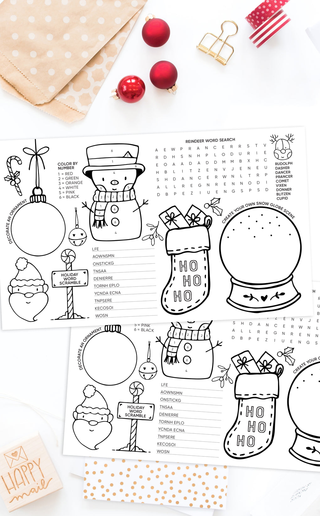 Printable kids activity place mats for Christmas dinner or Holiday party