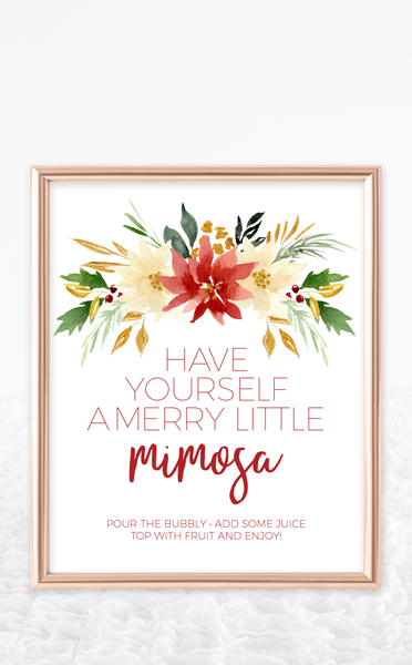 Christmas Mimosa Bar Sign and Juice Labels