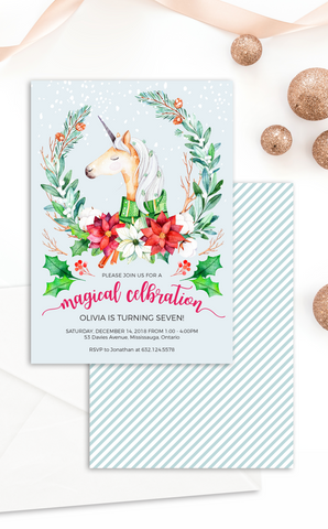 Magical Christmas Unicorn Invitation