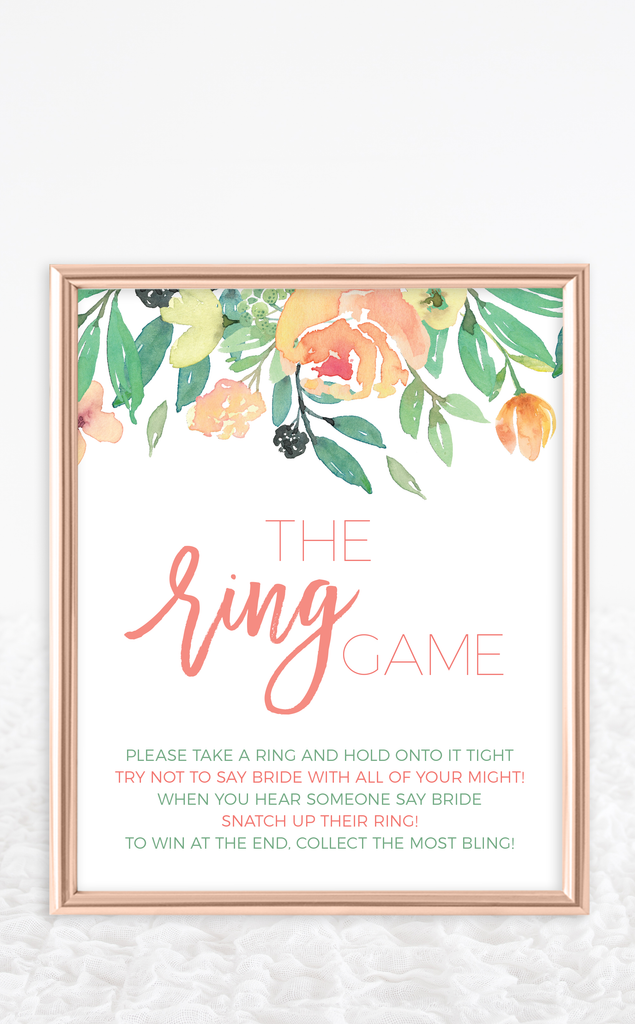 Coral Bridal Shower Ring Game