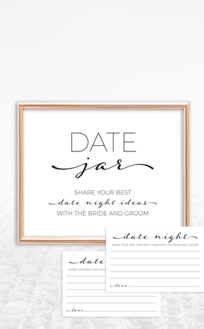 Printable Bridal Shower Date Night Cards and Sign