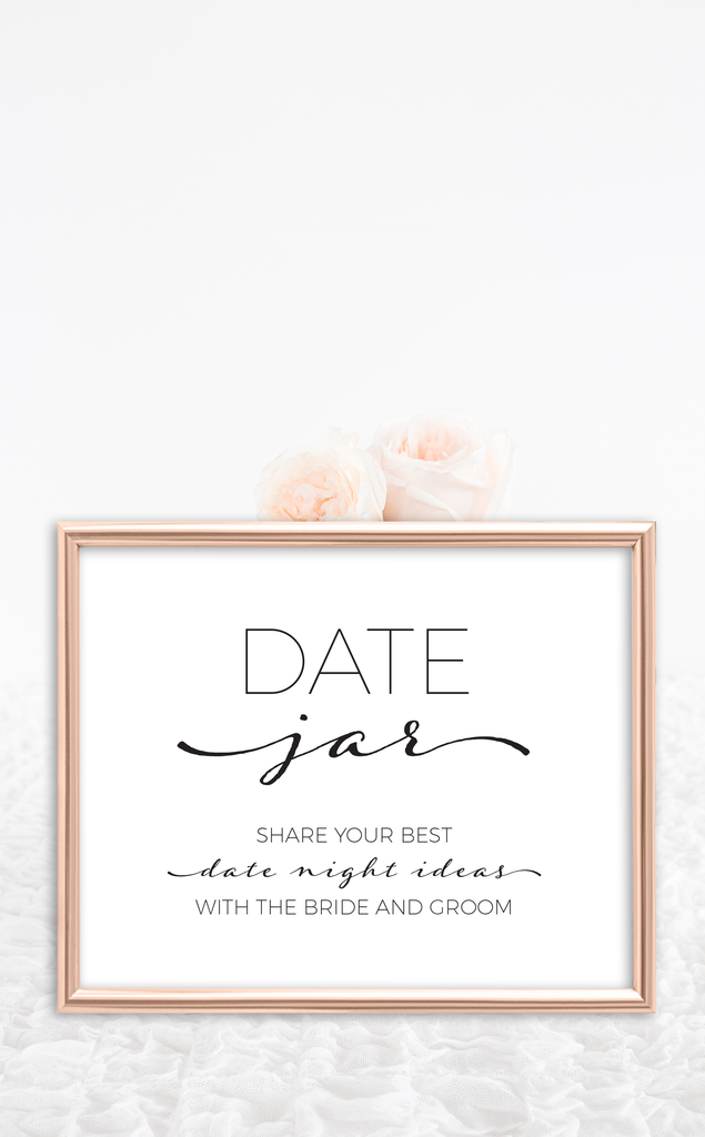 photo regarding Date Night Jar Printable named Printable Bridal Shower Day Night time Playing cards and Indication ARRA