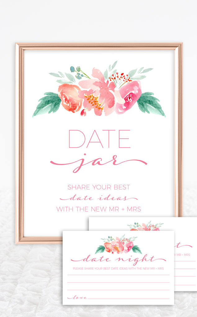 Floral Date Jar Bridal Shower Sign
