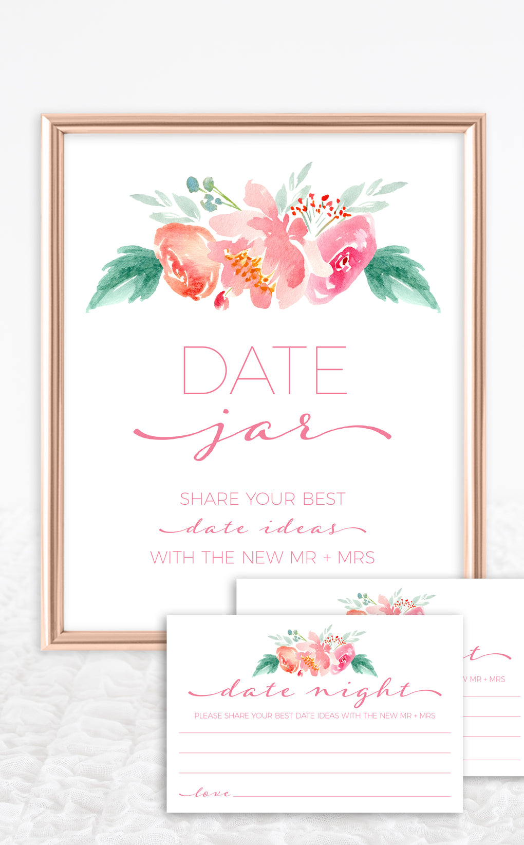 Date Jar sign and matching date night cards for pink bridal shower