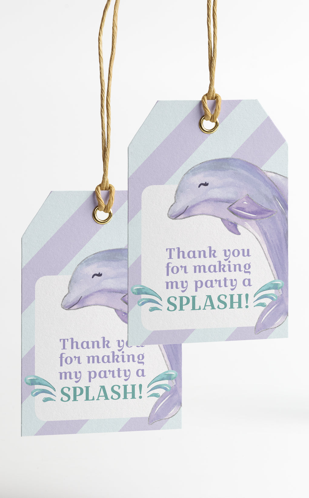 dolphin thank you tags for kids birthday party