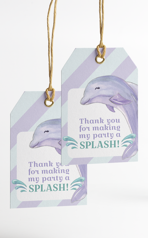 Dolphin Under the Sea Thank You Tags