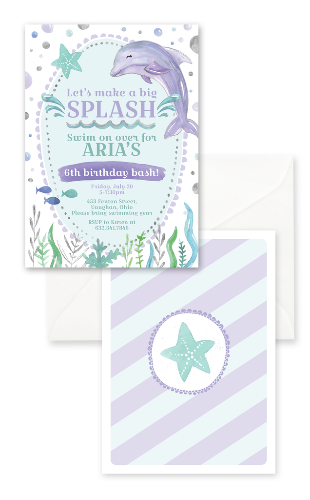 Dolphin Under the Sea Birthday Invitation