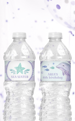 Under the Sea Dolphin Water Bottle Labels