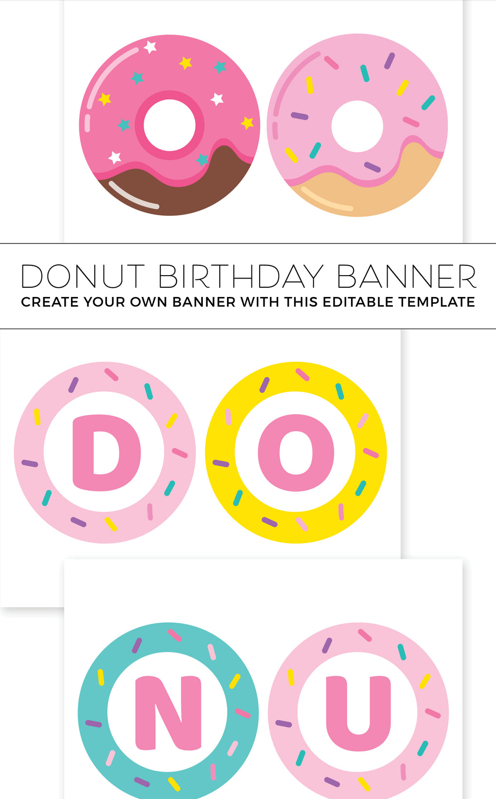 Donut birthday party banner for kids, pink, yellow and teal
