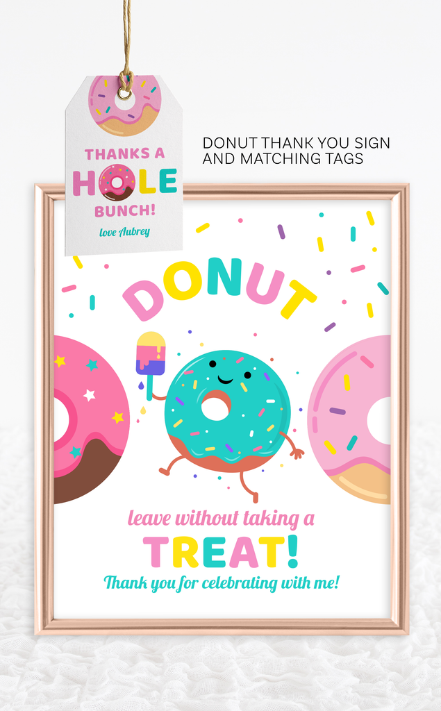 Thanks a Hole Bunch Donut Favour Tags