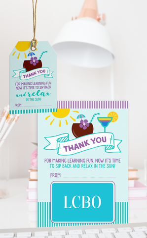 Summer Drinks Teacher Thank You Gift Card Holder and Gift Tags