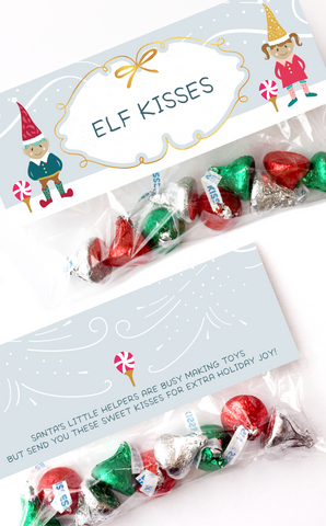 Elf Kisses Treat Bag Topper