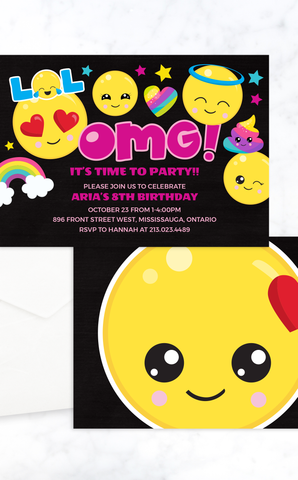 OMG! Emoji Birthday Invitation