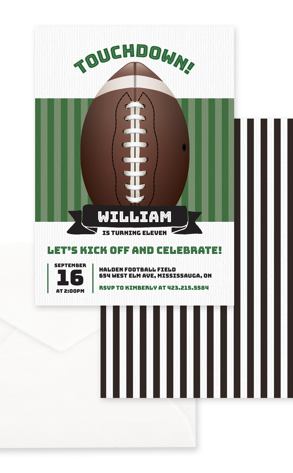 Touchdown Football Birthday Party Invitation
