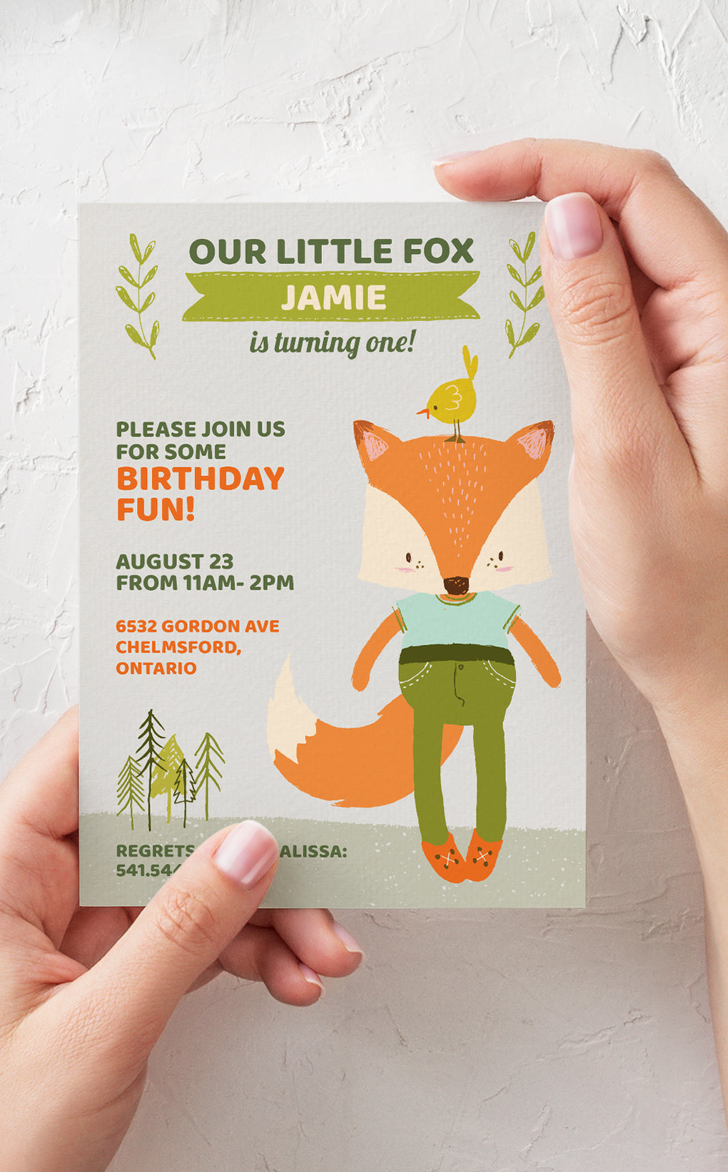 Woodland Fox Birthday Party Invitation