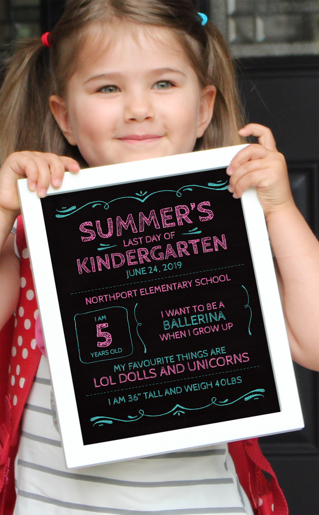Chalkboard First Day of School Sign (Pink and Teal)