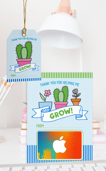 Thanks for Helping me Grow Teacher Thank You Gift Card Holder and Gift Tags