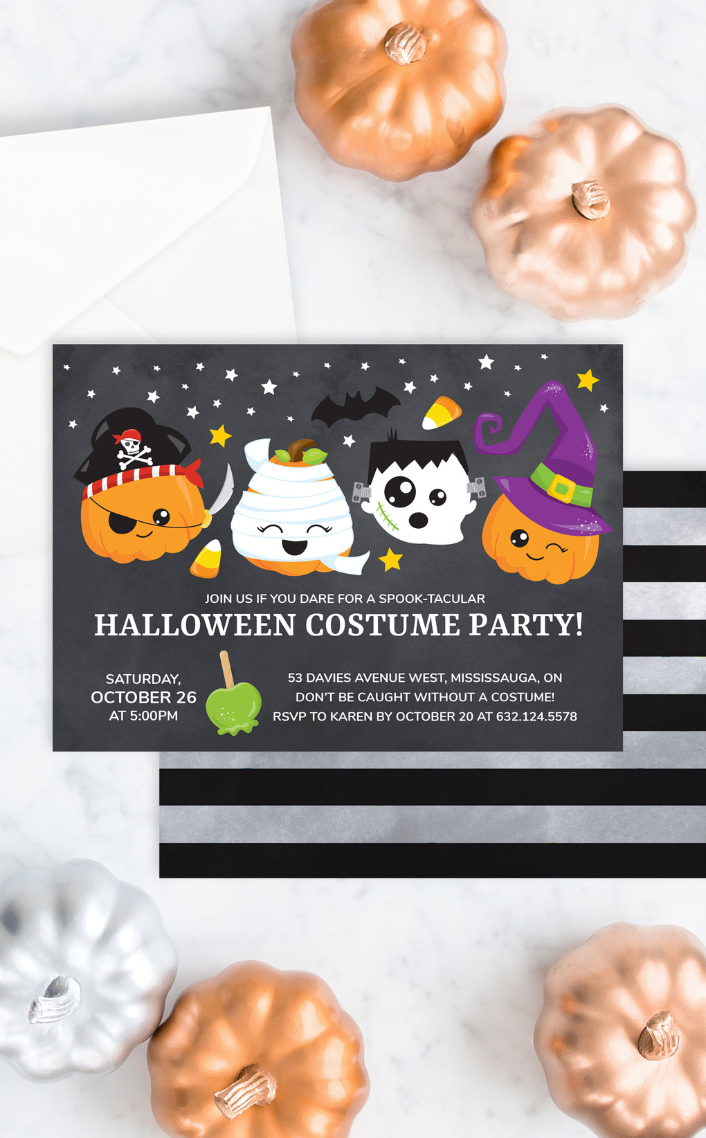 Halloween costume party invitation for kids with pumpkins