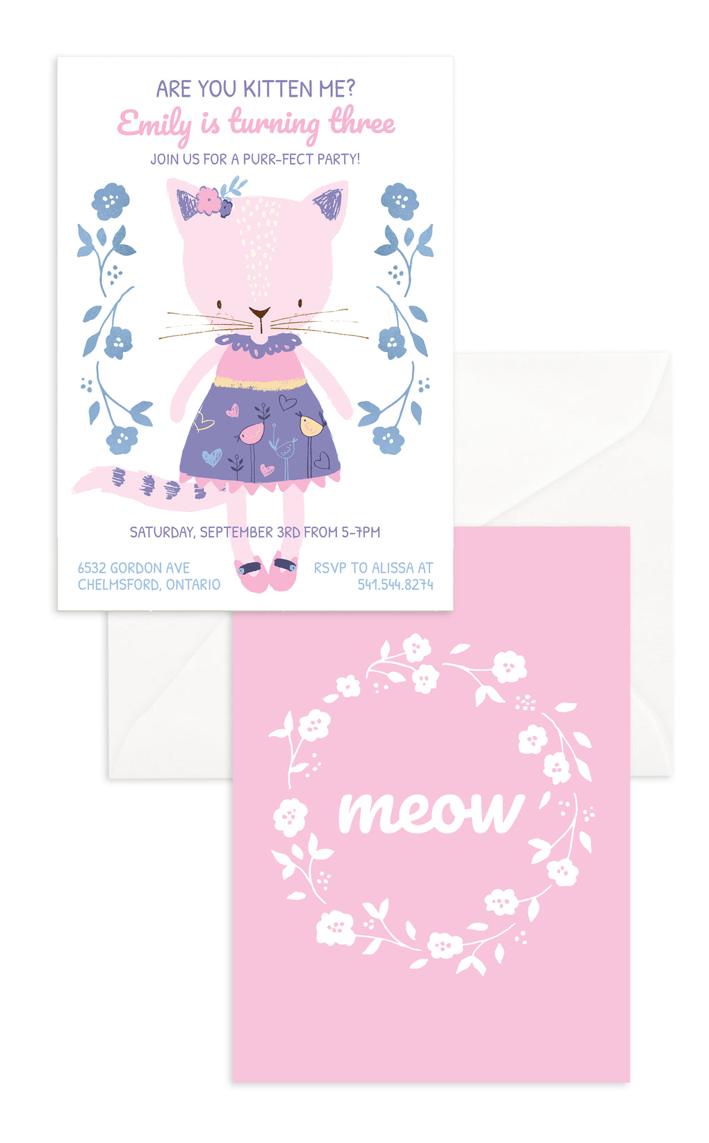 Pink Kitten Birthday Party Invitation