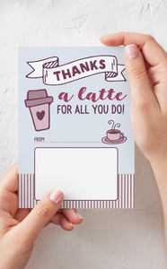Thanks a Latte Teacher Thank You Gift Card Holder and Gift Tags