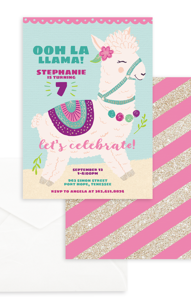 Ooh La Llama Birthday Party Invitation