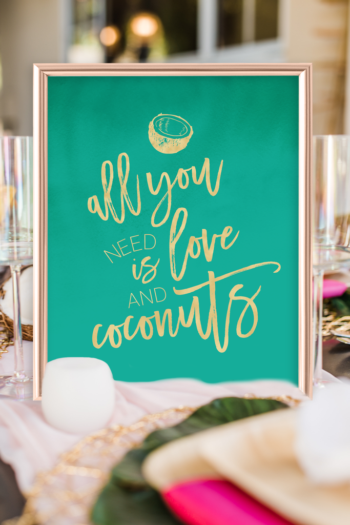 Tropical Love and Coconuts Bridal Shower Sign