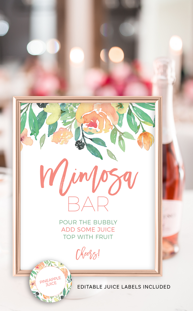 Coral Mimosa Bar Sign and Juice Labels