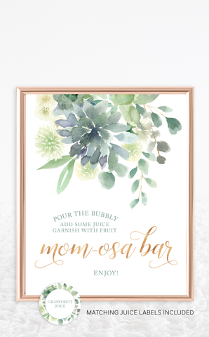 Succulent Mom-osa Bar Sign