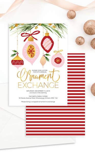Ornament Exchange Christmas Party Invitation
