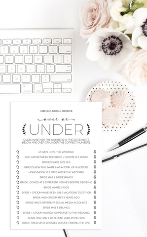 Printable Over or Under Bridal Shower Game