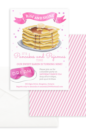 Pancakes and Pajamas Slumber Party Birthday Invitation